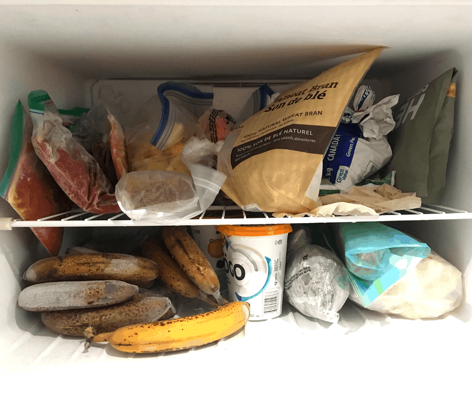 eat foods from the freezer during no spend challenge