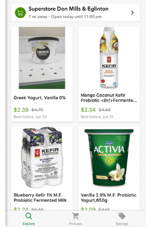 Screen shot of flash food app showing discounted yogurt for sale