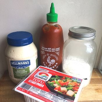 ingredient ideas for chopped at home challenge: mayo, sriracha, coconut, tofu