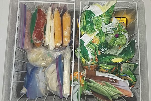 food in hanging freezer baskets