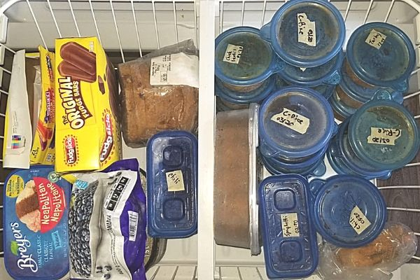 ice cream, soup, and chili in freezer
