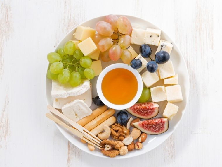 Cheese fruit plate is Simple Party food on a budget