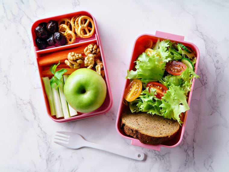 minimalist aesthetic Lunch box with healthy food