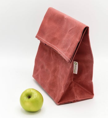 pink waxed canvas aesthetic lunch bag with green apple