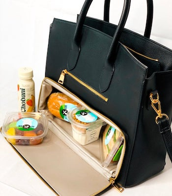 high end black vegan leather etsy lunch bag infinitobags