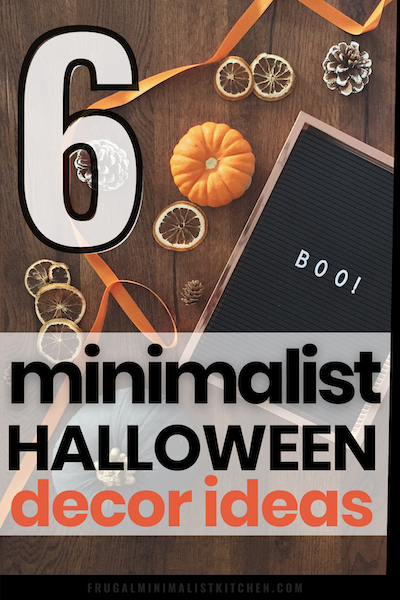 clutter free minimalist halloween decor ideas including pumpkin halloween letterboard icons that say boo